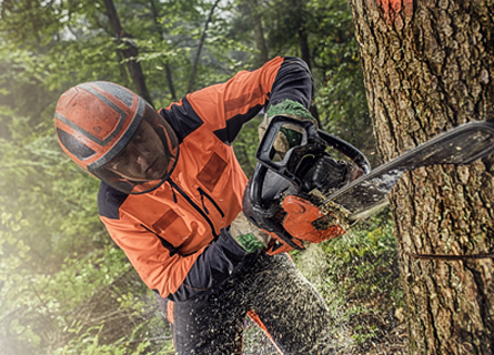 Man performing Logging Service in Illinois by cutting down timber
